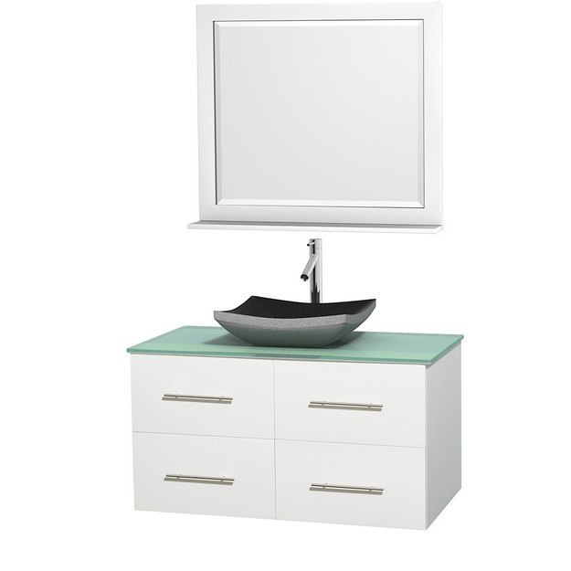WYNDHAM COLLECTION WCVW00942SWHGGGS1M36 CENTRA 42 INCH SINGLE BATHROOM VANITY IN WHITE, GREEN GLASS COUNTERTOP, ALTAIR BLACK GRANITE SINK, AND 36 INCH MIRROR