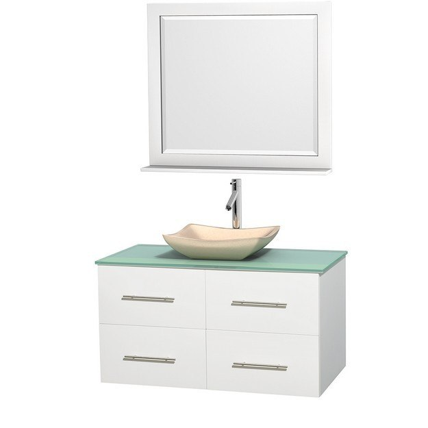 WYNDHAM COLLECTION WCVW00942SWHGGGS2M36 CENTRA 42 INCH SINGLE BATHROOM VANITY IN WHITE, GREEN GLASS COUNTERTOP, AVALON IVORY MARBLE SINK, AND 36 INCH MIRROR