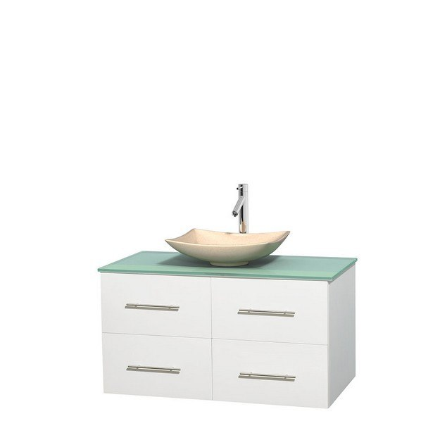 WYNDHAM COLLECTION WCVW00942SWHGGGS5MXX CENTRA 42 INCH SINGLE BATHROOM VANITY IN WHITE, GREEN GLASS COUNTERTOP, ARISTA IVORY MARBLE SINK, AND NO MIRROR