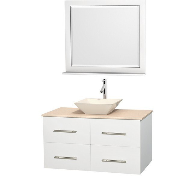 WYNDHAM COLLECTION WCVW00942SWHIVD2BM36 CENTRA 42 INCH SINGLE BATHROOM VANITY IN WHITE, IVORY MARBLE COUNTERTOP, PYRA BONE PORCELAIN SINK, AND 36 INCH MIRROR