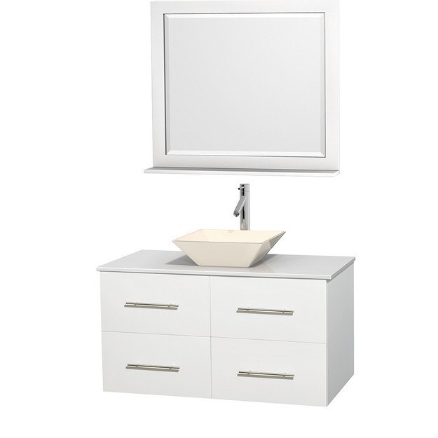 WYNDHAM COLLECTION WCVW00942SWHWSD2BM36 CENTRA 42 INCH SINGLE BATHROOM VANITY IN WHITE, WHITE MAN-MADE STONE COUNTERTOP, PYRA BONE PORCELAIN SINK, AND 36 INCH MIRROR