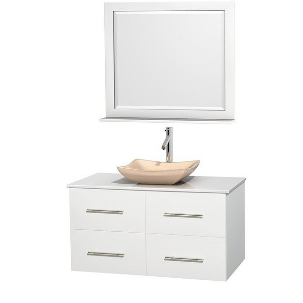 WYNDHAM COLLECTION WCVW00942SWHWSGS2M36 CENTRA 42 INCH SINGLE BATHROOM VANITY IN WHITE, WHITE MAN-MADE STONE COUNTERTOP, AVALON IVORY MARBLE SINK, AND 36 INCH MIRROR