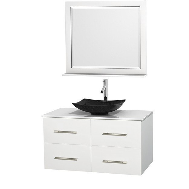 WYNDHAM COLLECTION WCVW00942SWHWSGS4M36 CENTRA 42 INCH SINGLE BATHROOM VANITY IN WHITE, WHITE MAN-MADE STONE COUNTERTOP, ARISTA BLACK GRANITE SINK, AND 36 INCH MIRROR