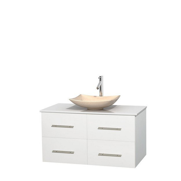 WYNDHAM COLLECTION WCVW00942SWHWSGS5MXX CENTRA 42 INCH SINGLE BATHROOM VANITY IN WHITE, WHITE MAN-MADE STONE COUNTERTOP, ARISTA IVORY MARBLE SINK, AND NO MIRROR