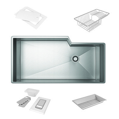Rohl RGKKIT3016 Luxury Stainless Steel 35-1/8 Inch Single Bowl Kitchen Sink With Accessoires in Brushed Stainless Steel