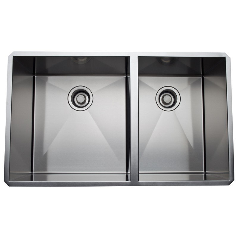Rohl RSS3118 Luxury Stainless Steel 32-3/4 Inch 1-1/2 Bowl Kitchen Sink in Brushed Stainless Steel