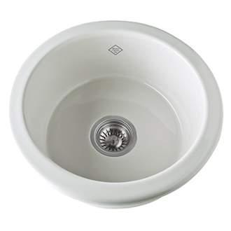 Rohl UM1807 Shaws Original  18-1/4 Inch Single Bowl Round Bar/Food Fireclay Prep Sink
