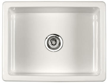 Rohl UM2318 Shaws Classic  23-7/16 Inch 600 Single Bowl Inset or Undermount Fireclay Secondary Kitchen or Laundry Sink