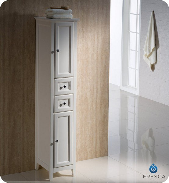 Fresca FST2060AW Oxford Antique White Tall Bathroom Linen Cabinet