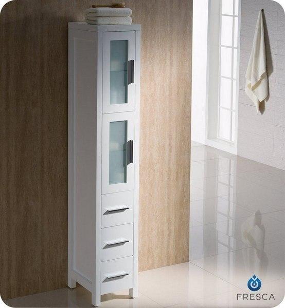 FRESCA FST6260WH TORINO WHITE TALL BATHROOM LINEN SIDE CABINET