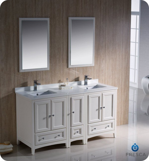 FRESCA FVN20-241224AW OXFORD 60 INCH ANTIQUE WHITE TRADITIONAL DOUBLE SINK BATHROOM VANITY WITH SIDE CABINET