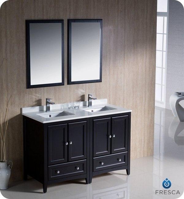 Fvn20 2424es Oxford 48 Inch Espresso Traditional Double Sink Bathroom Vanity Fvn20 2424es Fst2060es Oxford 48 Inch