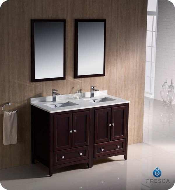 48 inch bathroom vanity double sink fresca fvn20 2424mh oxford 48 inch mahogany traditional 24770