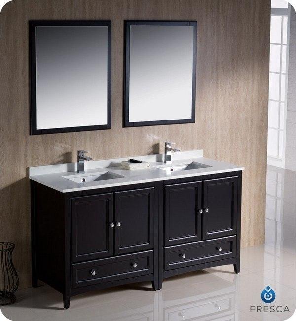 Fvn20 3030es oxford 60 inch espresso traditional double - 60 inch bathroom vanities double sink ...
