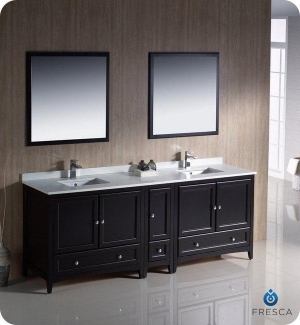 Paris 60-Inch Espresso Double-Sink Bathroom Vanity With Mirrors fresca fvn20-361236es oxford 84 inch espresso traditional double