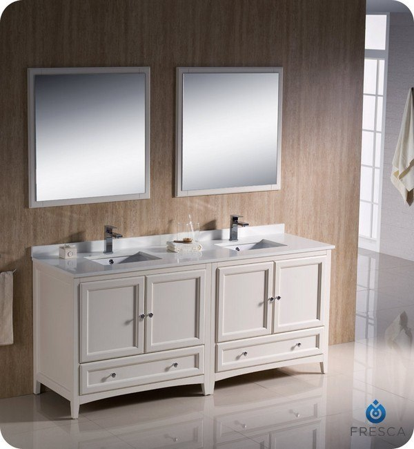 FRESCA FVN20-3636AW OXFORD 72 INCH ANTIQUE WHITE TRADITIONAL DOUBLE SINK BATHROOM VANITY