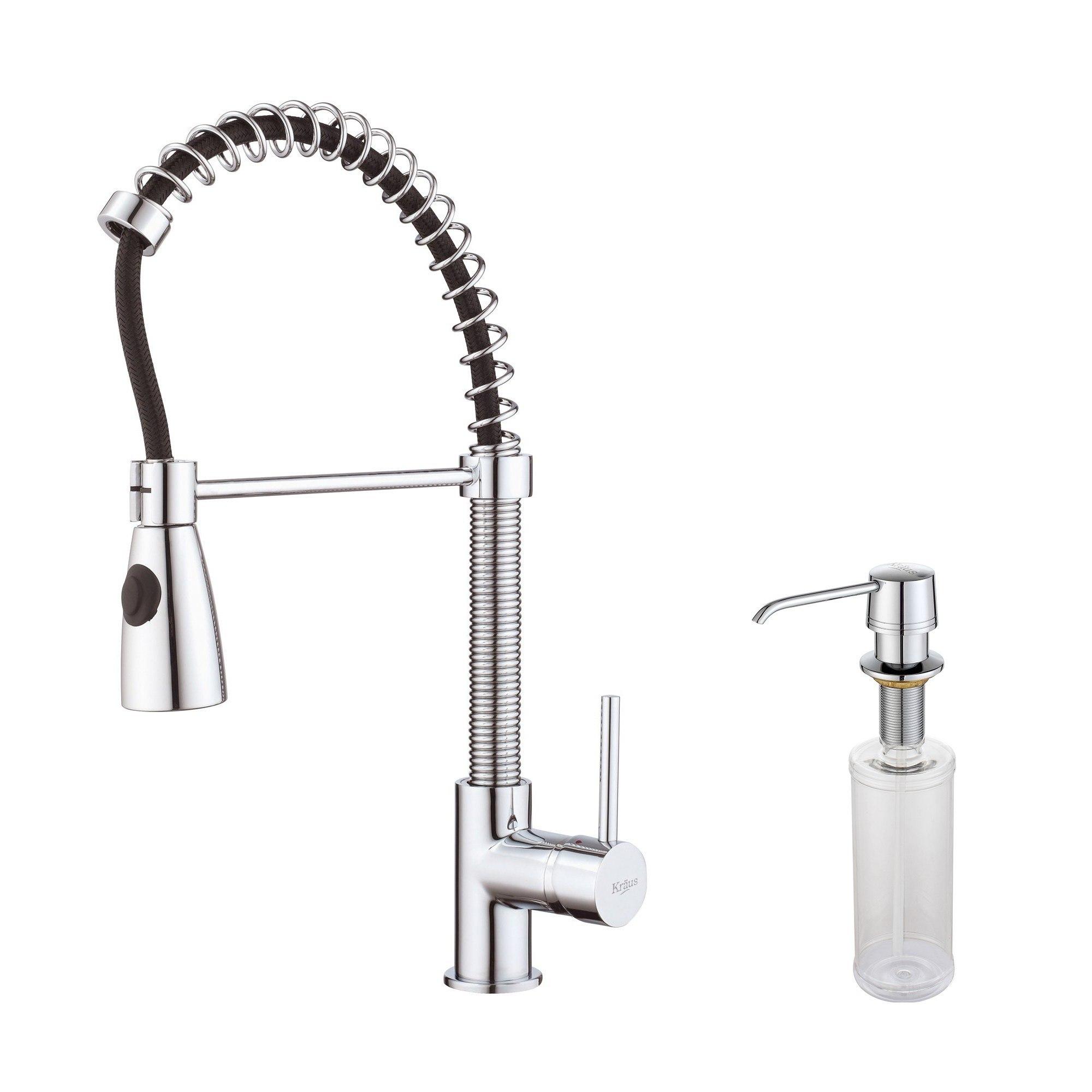 Kraus KPF-1612-KSD-30 Single Lever Pull Out Kitchen Faucet & Soap Dispenser