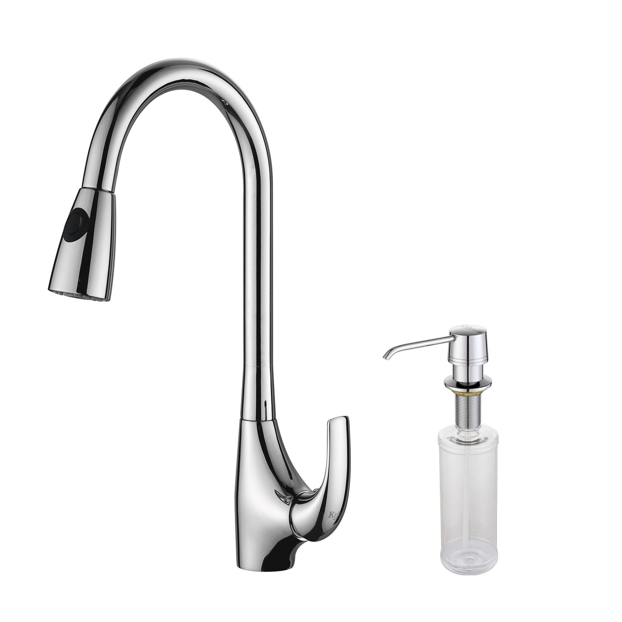 Kraus KPF-1621-KSD-30 Single Lever Pull-Out Kitchen Faucet & Soap Dispenser