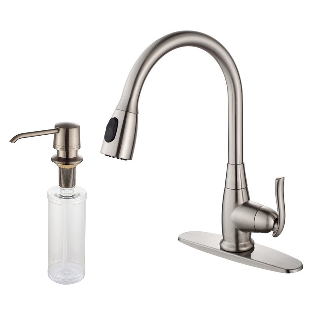 Kraus KPF-2230-KSD-30 Single Lever Pull Out Kitchen Faucet and Soap Dispenser