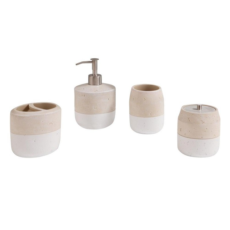 AVANITY KOKO1778 KOKO POLYRESIN BATHROOM ACCESSORY SET IN BEIGE AND WHITE