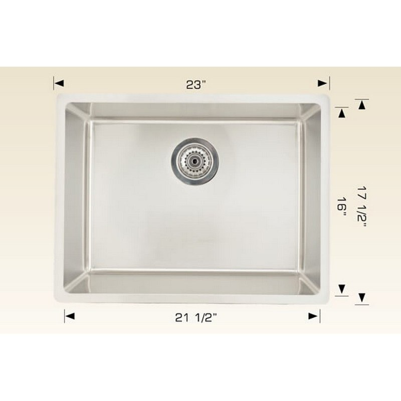 AMERICAN IMAGINATIONS AI-27687 18 GAUGE 23 INCH KITCHEN SINK IN CHROME