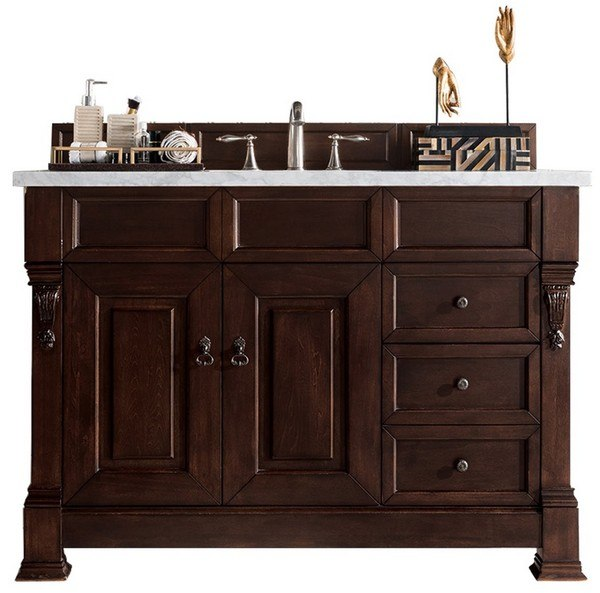 Brookfield 60 Single Cabinet Country Oak with 3 CM Classic White Quartz Top w//Sink