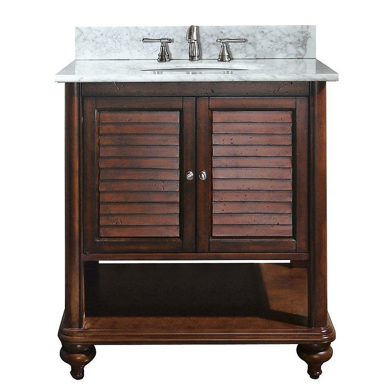 AVANITY TROPICA-VS30-AB-C TROPICA 31 INCH VANITY WITH CARRERA WHITE MARBLE TOP IN ANTIQUE BROWN
