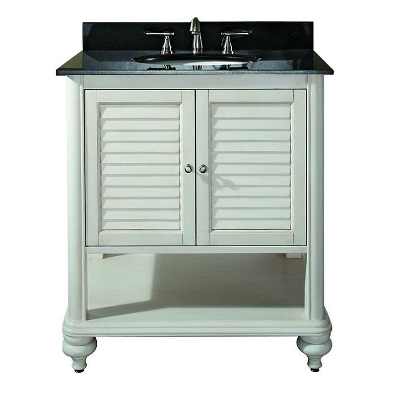 AVANITY TROPICA-VS30-AW-A TROPICA 31 INCH VANITY WITH BLACK GRANITE TOP IN ANTIQUE WHITE
