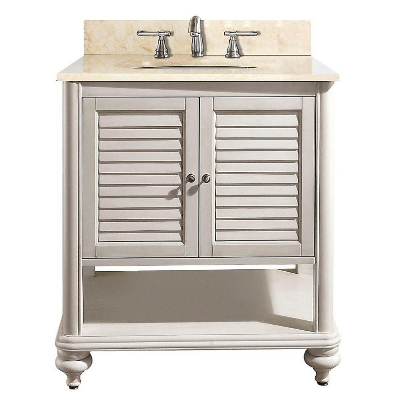 AVANITY TROPICA-VS30-AW-B TROPICA 31 INCH VANITY WITH GALALA BEIGE MARBLE TOP IN ANTIQUE WHITE