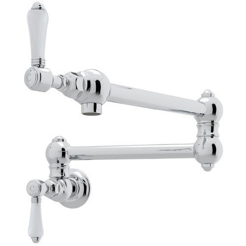 Rohl A1451LP-2 Country Single Hole Wall Mount Swing Arm Pot Filler with Porcelain Levers