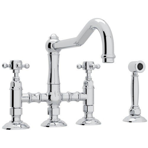 Rohl A1458XMWS-2 Country Acqui Deck Mount Column Spout 3 Leg Bridge Single Hole Kitchen Faucet with Sidespray and Cross Handle