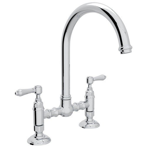 Rohl A1461LM-2 Country San Julio Deck Mount C-Spout Bridge Single Hole Kitchen Faucet with Metal Levers