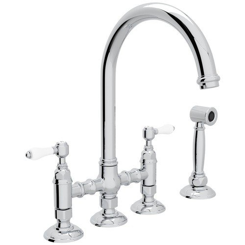 Rohl A1461LPWS-2 Country San Julio Deck Mount C-Spout 3 Leg Bridge Single Hole Kitchen Faucet with Sidespray and Porcelain Levers