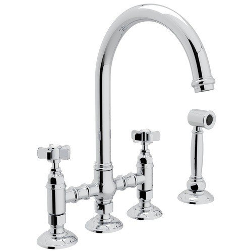 Rohl A1461XWS-2 Country San Julio Deck Mount C-Spout 3 Leg Bridge Single Hole Kitchen Faucet with Sidespray and Five Spoke Handles