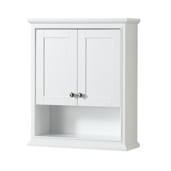 WYNDHAM COLLECTION WCS2020WCWH DEBORAH BATHROOM WALL-MOUNTED STORAGE CABINET IN WHITE