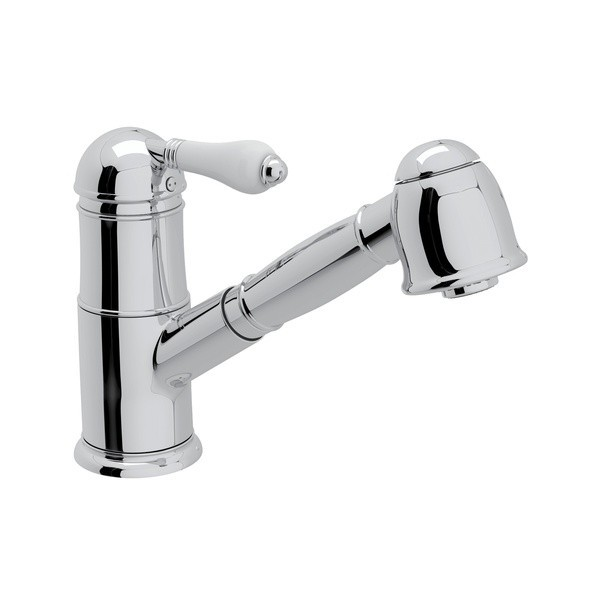 ROHL A3410LP-2 ITALIAN PULL-OUT SINGLE HOLE KITCHEN FAUCET WITH PORCELAIN LEVERS