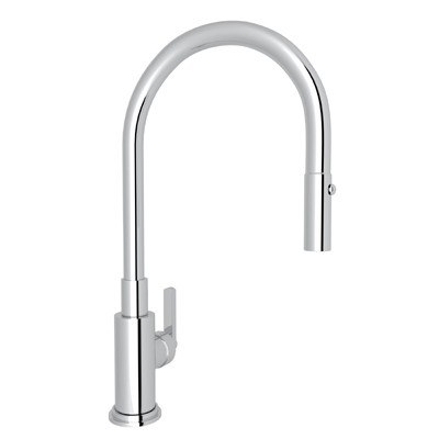 Rohl A3430LM-2 Lombardia Pull-Down Single Hole Kitchen Faucet with Metal Lever