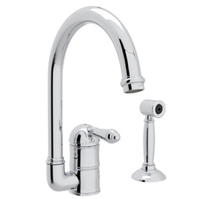 ROHL A3606/6.5LMWS-2 COUNTRY SINGLE HOLE C-SPOUT BAR/FOOD PREP FAUCET WITH SHORT SIDESPRAY AND METAL LEVER