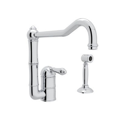 ROHL A3608/11LMWS-2 COUNTRY ACQUI SINGLE HOLE COLUMN SPOUT KITCHEN FAUCET WITH SIDESPRAY & EXTENDED SPOUT AND METAL LEVER