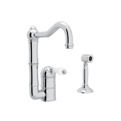 ROHL A3608/6.5LPWS-2 COUNTRY ACQUI SINGLE HOLE COLUMN SPOUT BAR/FOOD PREP FAUCET WITH SIDESPRAY AND PORCELAIN LEVER