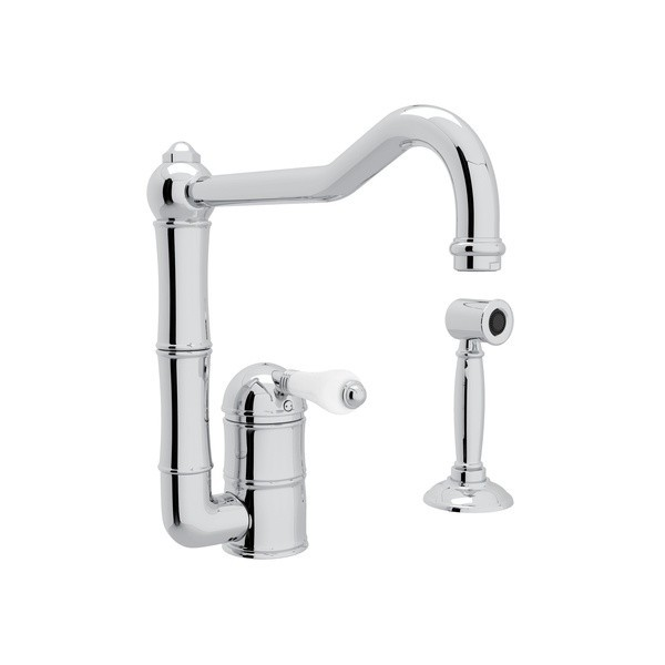 ROHL A3608LPWS-2 COUNTRY ACQUI SINGLE HOLE COLUMN SPOUT KITCHEN FAUCET WITH SIDESPRAY AND PORCELAIN LEVERS