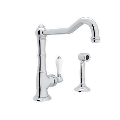 ROHL A3650/11LPWS-2 COUNTRY CINQUANTA SINGLE HOLE COLUMN SPOUT KITCHEN FAUCET WITH SIDESPRAY & EXTENDED SPOUT AND PORCELAIN LEVER