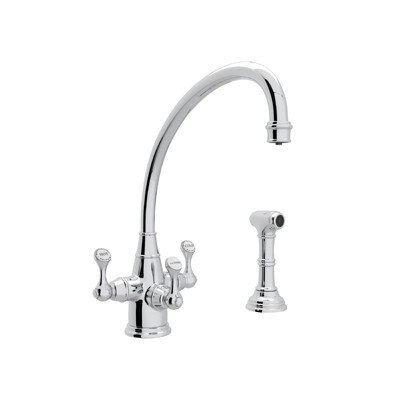 Rohl U.1520LS-2 Perrin & Rowe Georgian Era 3-Lever Single Hole Kitchen Faucet with Sidespray