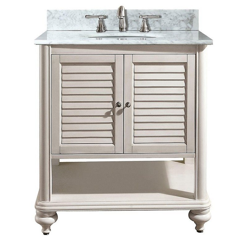AVANITY TROPICA-VS30-AW-C TROPICA 31 INCH VANITY WITH CARRERA WHITE MARBLE TOP IN ANTIQUE WHITE