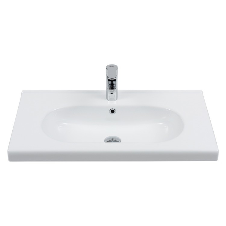CERASTYLE 069100-U CITY 32 X 18 INCH RECTANGLE WHITE CERAMIC WALL MOUNTED SINK OR SELF RIMMING SINK