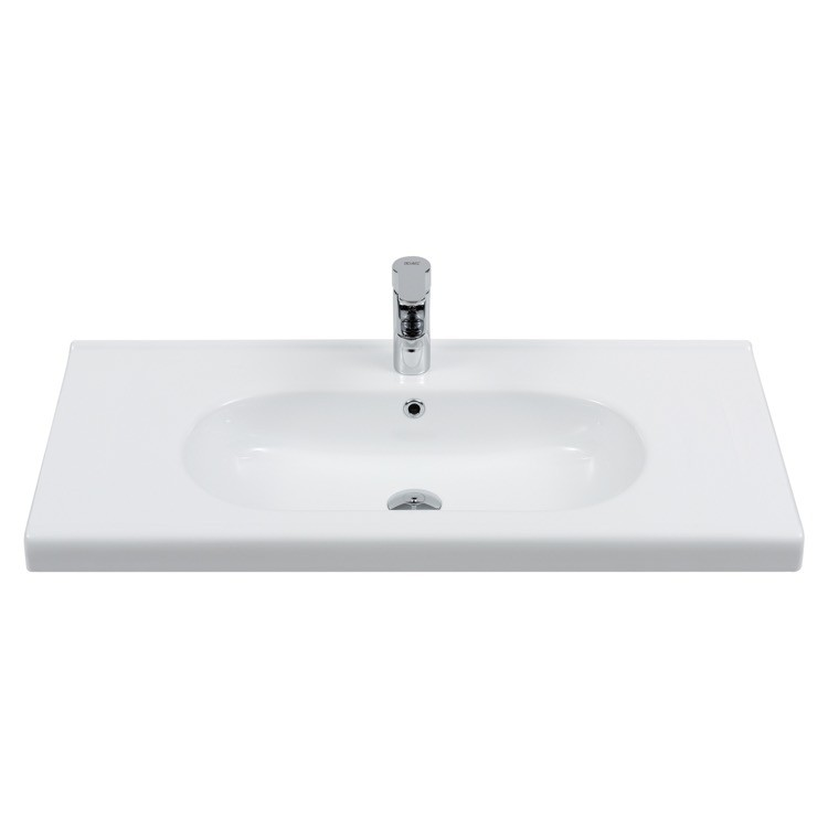 CERASTYLE 069200-U CITY 39 X 18 INCH RECTANGLE WHITE CERAMIC WALL MOUNTED SINK OR SELF RIMMING SINK