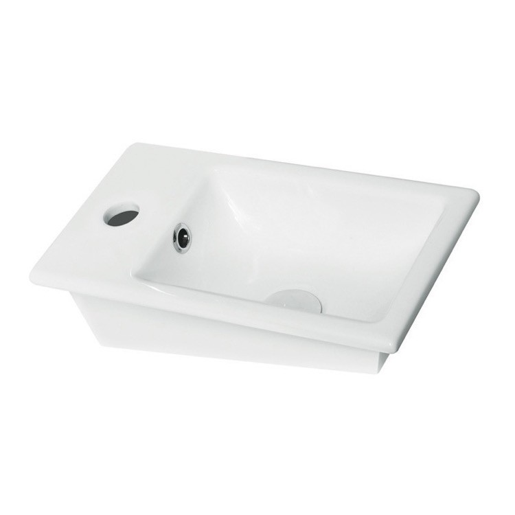 CERASTYLE 071000-U-ONE HOLE MINI 16 INCH RECTANGLE WHITE CERAMIC SELF RIMMING SINK