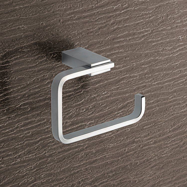GEDY 3824-13 KANSAS SQUARE BRASS TOILET PAPER HOLDER IN POLISHED CHROME