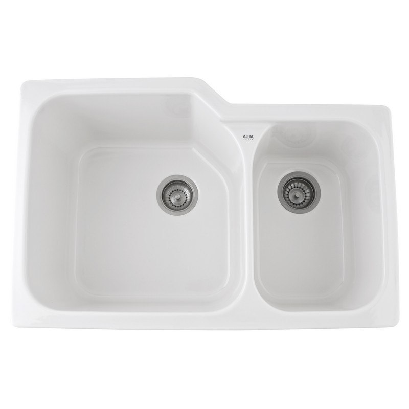 Rohl 6337 Allia Fireclay 33 Inch Fireclay 2 Bowl Undermount Kitchen Sink