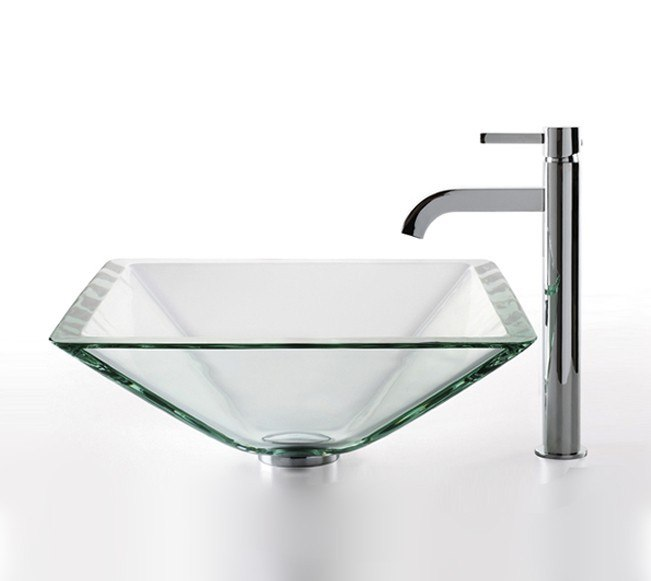 KRAUS C-GVS-901-19MM-1007 CLEAR 16.5 INCHAQUAMARINE GLASS VESSEL SINK AND RAMUS FAUCET